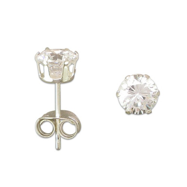 SILVER CZ SOLITAIRE STUDS (5mm)