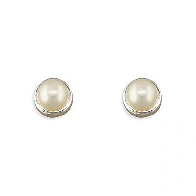 IVORY BUTTON PEARL EARRINGS