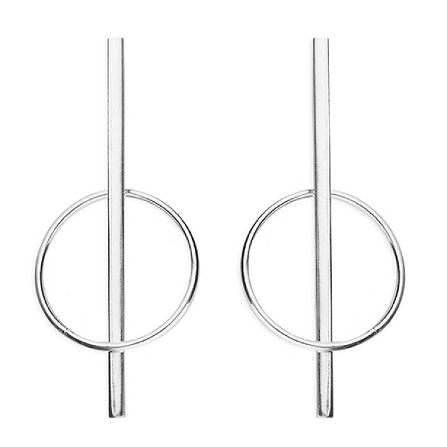 BAR THROUGH CIRCLE DROP EARRINGS