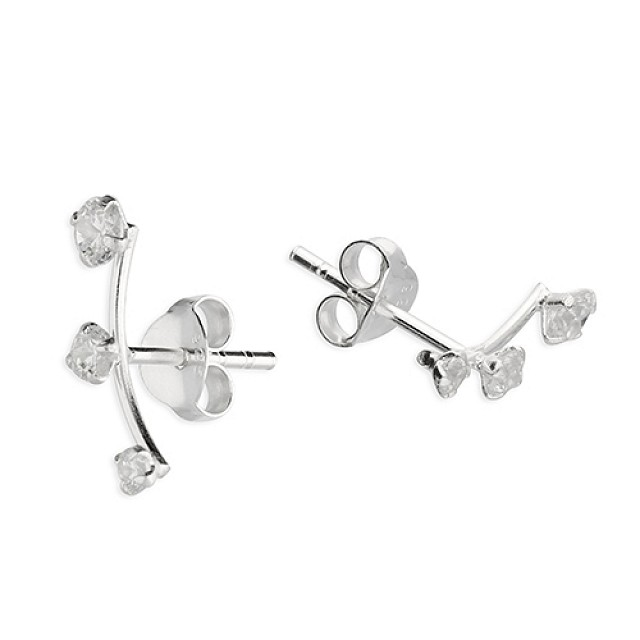 THREE STONE CZ EARRINGS