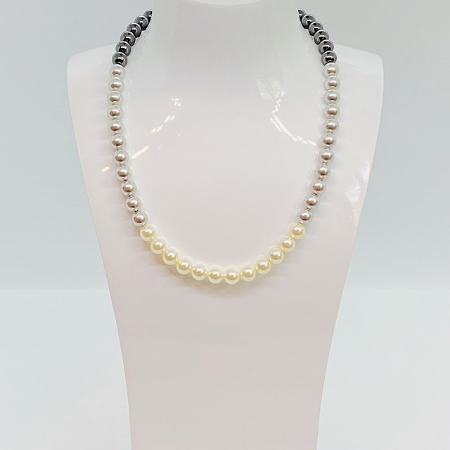 THREE TONE GREY PEARL NECKLACE