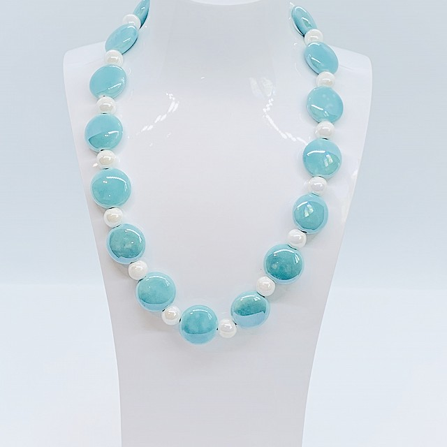 CERAMIC BLUE AND WHITE NECKLACE