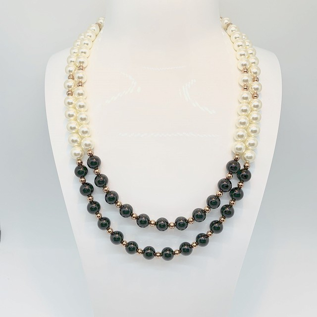 DOUBLE STRAND OBISIDAN AND PEARL NECKLACE
