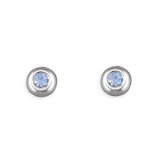 BLUE CRYSAL ROUND STUD