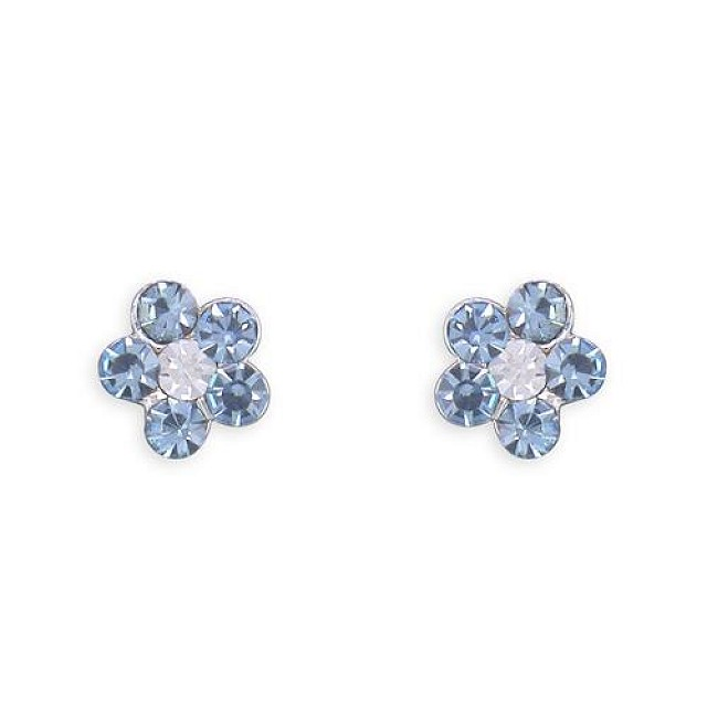 BLUE CRYSAL FLOWER STUD