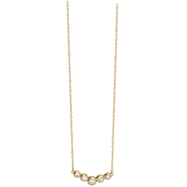 Gold Plated CZ Row Necklace